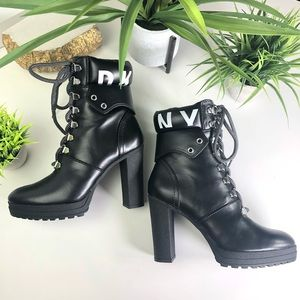 DKNY Lace Up Logo Platform Ankle Combat Boots NWT